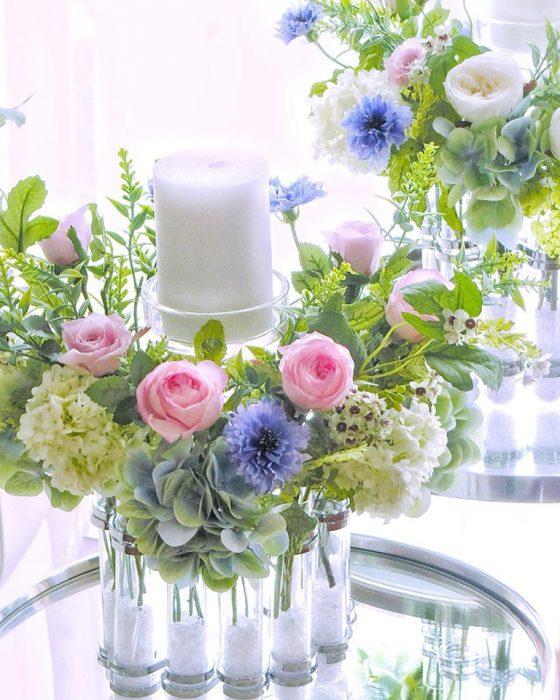 プリザマンスリー*リングチューベを使った花飾り