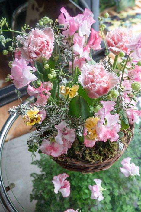 春の庭のカゴ